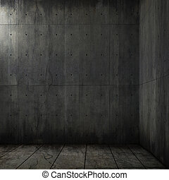 beton, grunge, kamer, achtergrond, hoek