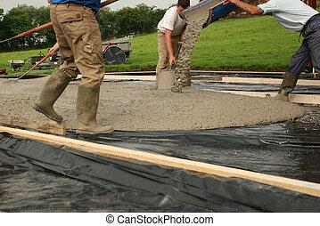 beton, lefektetés