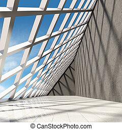beton, moderne, ontwerp, zaal, architecturaal