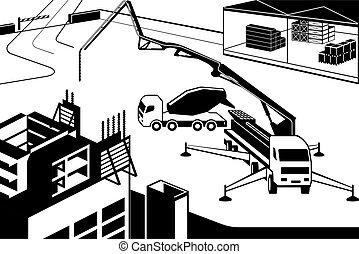 beton, neu , gießen, gebäude, lastwagen, pumpe, wand