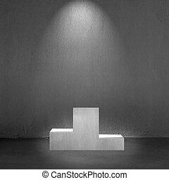 Beton, Podium, Mit, Fleck, Beleuchtung, Inneneinrichtung