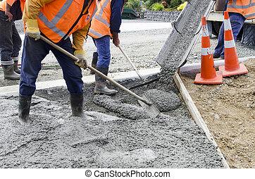 beton, -, straat, werkende