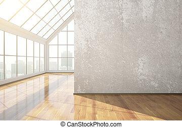 beton, szoba, üres