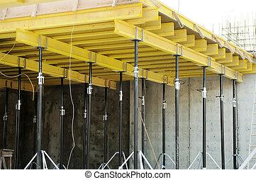 beton, vorm, op, gebouw stek