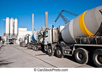 beton, vrachtwagens