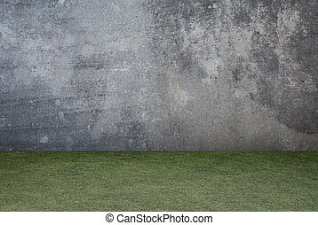 betongvägg, struktur, bakgrund., grönt gräs