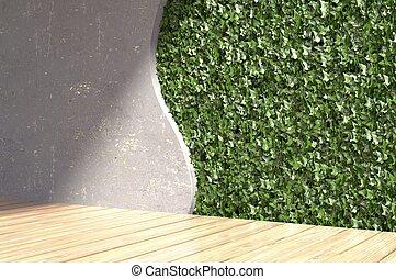 betonwand, mit, grün, blättert, in, modern, interior., 3d, illustration.