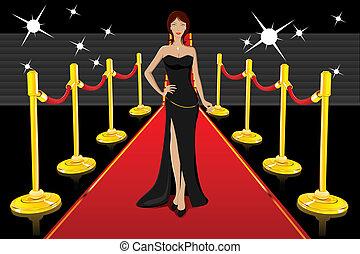 betoverend, dame, rood tapijt