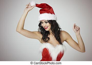 betoverend, hoedje, kerstman, vrouw