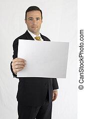 betrachtung, papier, besitz, klage, heraus, mann