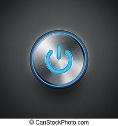 betreiben knopf, mit, blaues licht