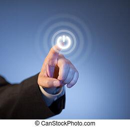 betreiben knopf, virtuell, mannes, drücken, finger, berührungsbildschirm