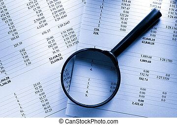 betrieb, budget, und, vergrößerungsglas