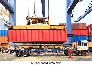 betrieb, containerhafen