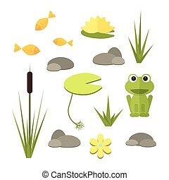 betriebe, elemente, kleingarten, animals., vektor, wasser, teich, karikatur