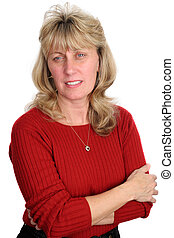 betrokken, vrouw, blonde