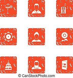 Betrothal icons set, grunge style - Betrothal icons set....