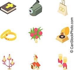 Betrothal icons set, isometric style - Betrothal icons set....