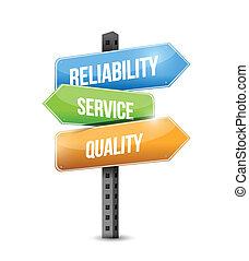 betrouwbaarheid, kwaliteit, illustratie, dienst, meldingsbord