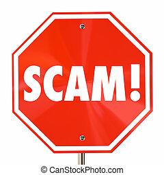 betrug, scam, wort, halt, abbildung, zeichen, lies, ...
