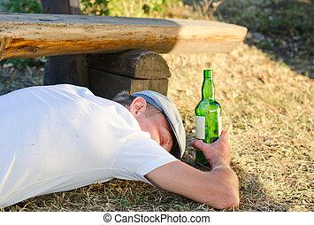 deeply junger bank drau en eingeschlafen mann profil oder h lzern deeply betrunken. Black Bedroom Furniture Sets. Home Design Ideas