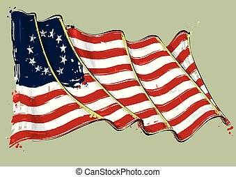 Betsy Ross Artistic Brush Stroke Waving Flag - Vector grange...