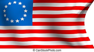 Betsy Ross flag against white background. Close up.