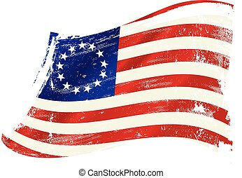Betsy Ross flag grunge - A grunge Betsy Ross flag in the...