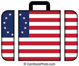 betsy ross, flag., maleta, icono, viaje, y, transporte, concepto