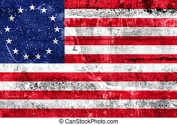 Betsy Ross Flag, painted on dirty wall. Vintage and old...