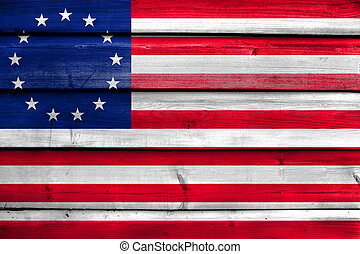 Betsy Ross Flag, painted on old wood plank background