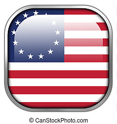 Betsy Ross Flag, square glossy button