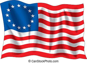 Betsy Ross flag, vector illustration
