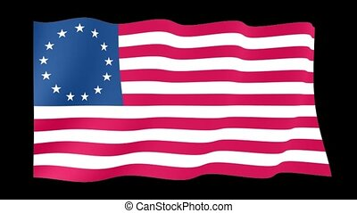 Betsy-Ross-flag. Waving - Flag animation for using in foto's...