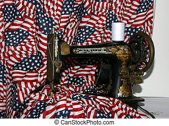 old/vintage sewing machine with American flag type material