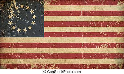 betsy, vieilli, drapeau etats-unis, plat, ross