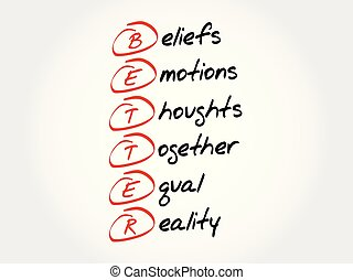 BETTER acronym concept - BETTER - Beliefs Emotions Thoughts...