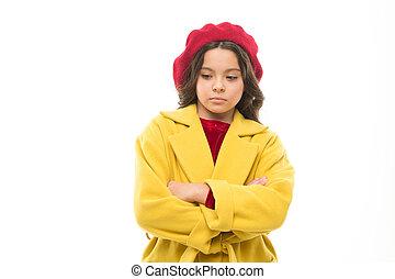 better., confident., triste, girl, elle, concept., bras, malheureux, tout, mind., child., chapeau, achats, chest., mais, usure, pensées, gosse, sur, manteau, tristesse, traversé, stand, rêve, faire