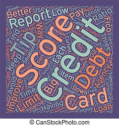 Better Credit Scores 7 Tips text background wordcloud concept
