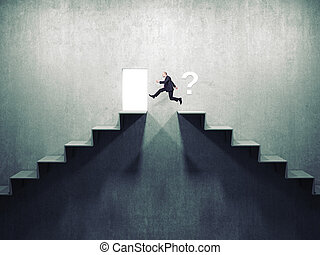 better way - businessman jump over 3d abstract stair