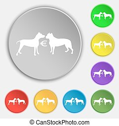 Betting on dog fighting icon sign. Symbol on eight flat buttons. Vector