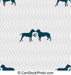 Betting on dog fighting icon sign. Seamless pattern with geometric texture. Vector