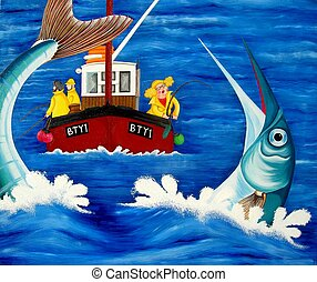 Betty goes Sea Fish - Betty catches a giant garfish. From my...