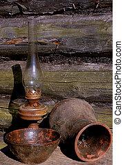 betty, lampe, krug, und, schüssel