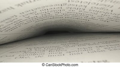 Book pages macro closup with probe lens sliding through the tunnel of text