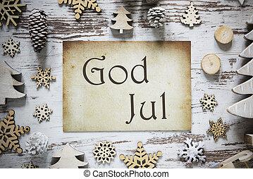 betyder, avis, dekoration, jul, rustic, merry, gud, jul