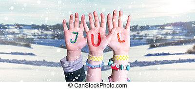 betyder, bygning, baggrund, børn, vinter, jul, glose, hænder...