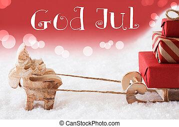 betyder, gud, jul, reindeer, baggrund, merry, sled, jul, rød
