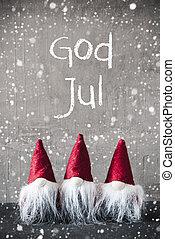 betyder, gud, sneflager, jul, gnomer, cement, glædelig jul,...
