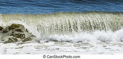 beuatiful, 卷發, 海洋, 大西洋, 波浪